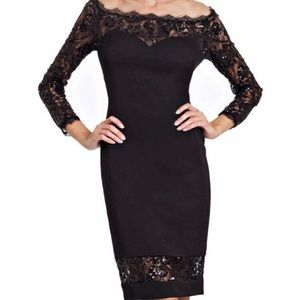 JS Collections Womens Dress 10 Black Sequin Formal